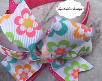 Pink Coloful Bow Headband