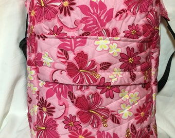 Hawaiian Pink Floral Quilted Backpack