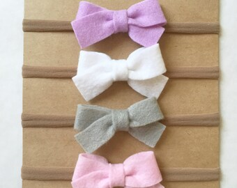 Felt bows on nylon headband | baby headband | felt baby bow | choose your color