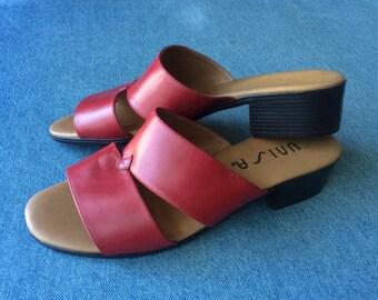 Red Leather Block Heel Slides Size 7.5