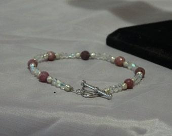 Natural Ruby and Swarovski AB Beaded Bracelet.