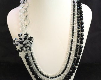 Black and White Beaded Flower 5-Strand Necklace