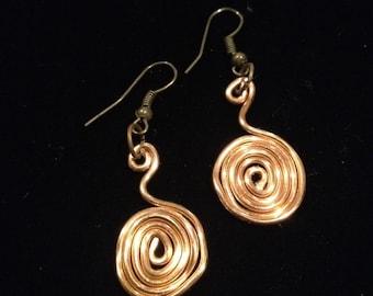 Copper wire wrapped drop earrings