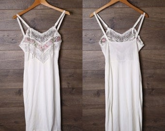 White embroidery slip dress
