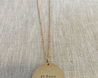 """LARGE ID tag """"DATES"""" necklace"""