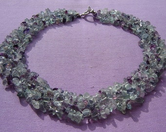 Necklace - necklace genuine Flourite - pastel - soft lilac
