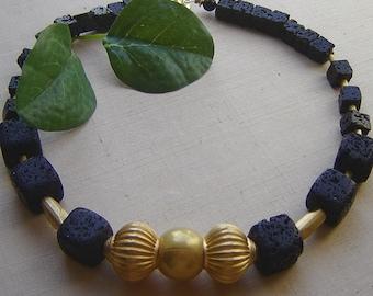 Elegant unique lava necklace gold plated with silver - 52 cm