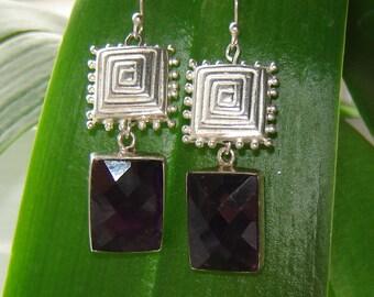 Earrings-silver + faceted Amethyst -