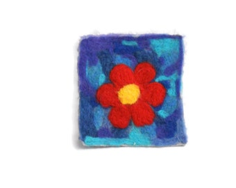 needle felted flower painting OOAK