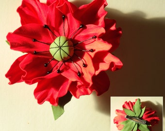 Red poppy on the clamp, hair barrette, hair clip