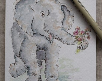 Baby Elephant Never Forgets Watercolor Painted Card- Print