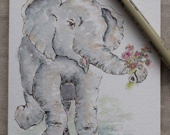 Baby Elephant Never Forgets Watercolor Painted Card- Original or Prints