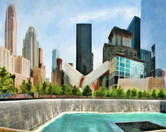 New York City, 911 Memorial, NYC Skyline, 911 Reflecting Pool, Urban Art, Cityscape, Digital Painting