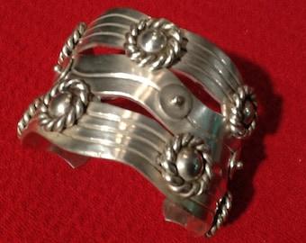 """William Spratling """"River of Life"""" Sterling cuff bracelet."""
