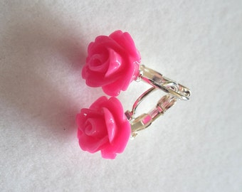 Pink Flower Resin Earrings