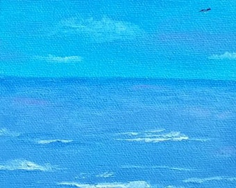 A Little Blue Today - Mini Oil Painting - Free Shipping