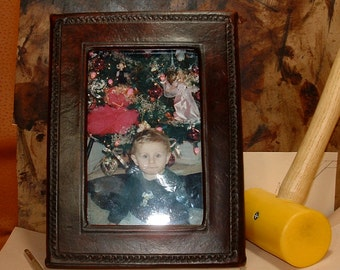 Leather Picture Frame, Mahogany Antique