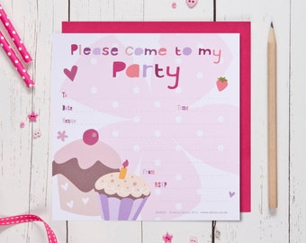 Cupcake Birthday Party Invites
