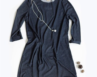 Casual dark blue dress | dress | day dress
