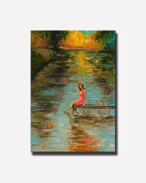 Autumn Forest Landscape Painting Sad Girl Landscape River Girl