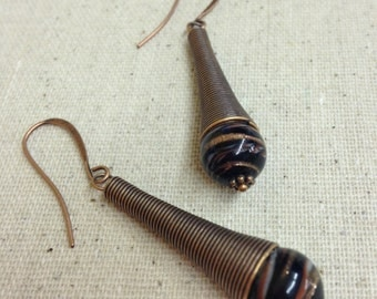 Unique Copper Spring and Fancy Black Bead Earrings