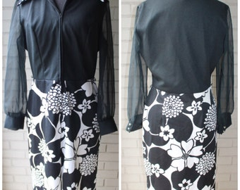 1960s Mod Zip Front Dress - Floral Print - Sheer Sleeves - Lady Blair - Size Large, Extra Large