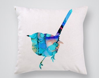Blue Bird Decorative Pillow - Colorful Throw Pillow - Art Pillow Cover - Home Decor