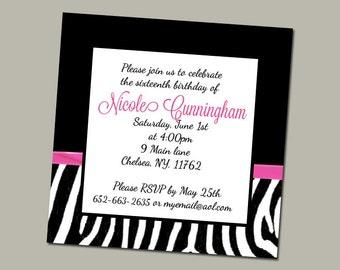 Elegant Zebra sweet 16 invite- digital download *shop reopening sale*