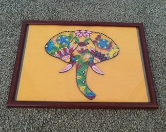 Multi-colored paper quilled elephant wall hanging