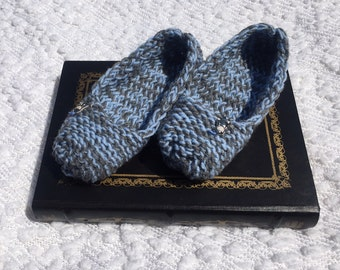 Knight Slippers, Knight Socks, Fantasy Slippers, Blue and Gray Slippers