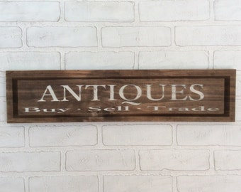 Antiques sign, antiques wood sign, rustic antiques sign, farmhouse antiques signs, farmhouse kitchen sign, antique shop