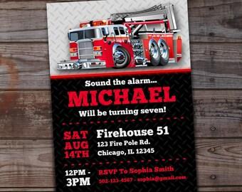 Firetruck Birthday Invitation, Fire Truck Birthday Invitation, Firehouse Invitations, Boys Birthday Invitations, Fire Engine Invitations
