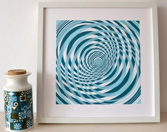 Ripple - An original screen print in shades of blue, modern, abstract, geometric print, limited edition silkscreen