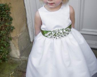 White Jewel Flower Girl Dress