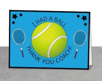 Tennis Cards, Coach Gift, Tennis Thank You Card, Tennis Party, Tennis Coach Gift, Tennis