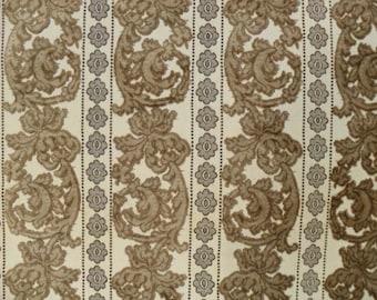 Vintage Plush Cut Velvet Jacquard Stripe Fabric Sample