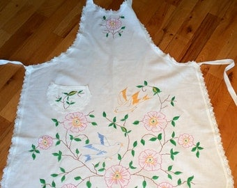 Vintage linen embroidery hostess apron full body hand embroidered floral pattern with bird