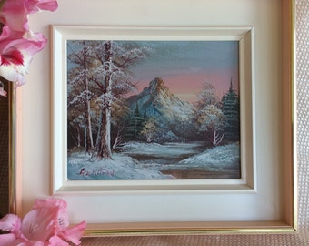 "Vintage G WhiTman artist signed oil painting 10""x8"" Decorator Art"