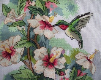 """Hand made cross stitch picture """"Colibries"""""""