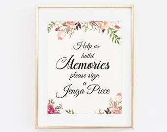 Jenga guest book sign, Jenga wedding sign, Printable Wedding Sign, Jenga, Wedding guest book alternative, Floral Wedding Sign, DIY Wedding