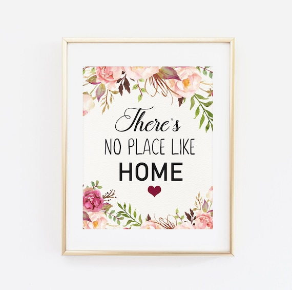 there 39 s no place like home quote printable art print. Black Bedroom Furniture Sets. Home Design Ideas