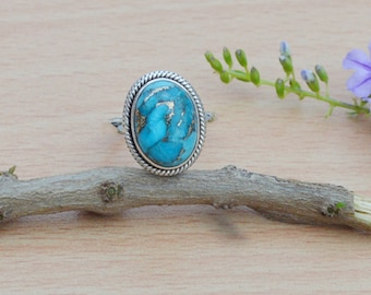 Blue Copper Turquoise Solitaire Ring in Sterling Silver, Oval Bezel Ring, 925 Sterling silver turquoise Jewelry, Gemstone Rings, Gift Ring