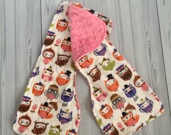 Owl Burp Cloths - Minky Burp Cloths - Contoured Burp Cloths