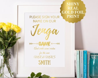 Custom Jenga Wedding Sign, Gold Foil Custom Wedding Print, Jenga Guest Book Sign, Wedding Guest Book Alternative, Jenga Wedding Print 8x10