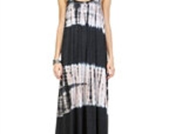 Charcoal & Light Pink Tie Dye Maxi