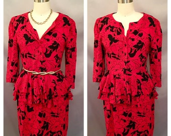 SALE!!! Vintage Red and Black Double Tier Peplum Dress