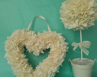 Cream Fabric Heart and Topiary Tree