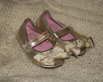 Christening, Baptism, Baby Girl, Gold Baby Bow Front Shoes