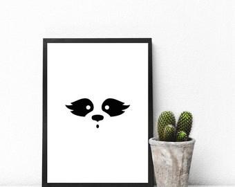 Raccoon Poster, Minimalist Print, Nursery, Graphic Art, Print Design, Wall Decor, Printable Gift, Typography Print, Black and White, B&W