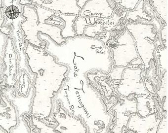 Camp Wanapitei Map, Temagami, Ontario